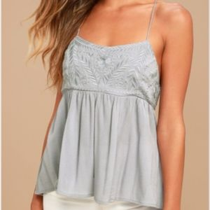 Absolute Adoration Light Grey Embroidered Top!